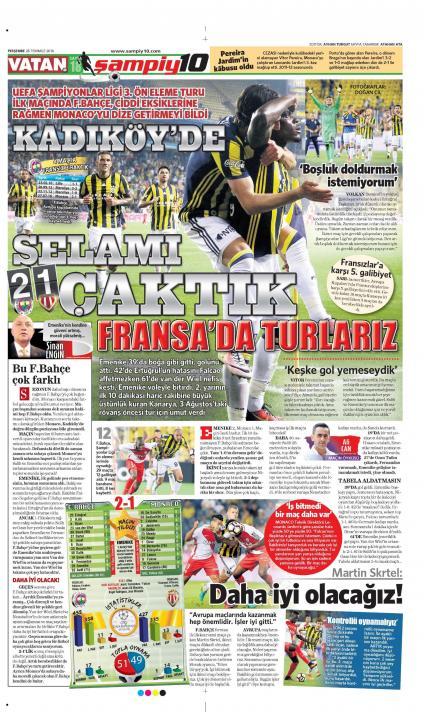 Fenerbahçe - Monaco manşetleri