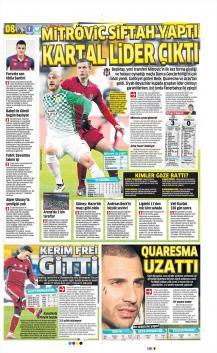 Beşiktaş gazete manşetleri - 20 Ocak