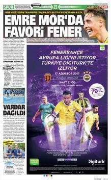 Fenerbahçe gazete manşetleri - 16 Ağustos