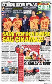 Galatasaray gazete manşetleri - 16 Ağustos