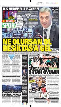 Beşiktaş gazete manşetleri - 16 Ocak
