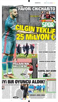 Beşiktaş gazete manşetleri -19 Ocak