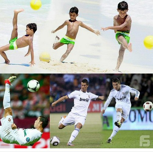 Ronaldo ve o�lu! Yetenek ve stil babadan o�ula ge�iyor...