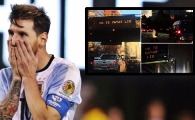 Buenos Aires sokaklar�nda trafik tabelalar� Leo Messi i�in yand�!