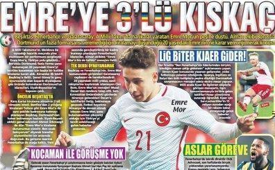 Günün 30 spor gazete manşeti; 'Emre Mor'a 3'lü kıskaç var!'