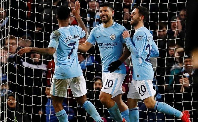 Manchester City'de Aguero şov ve 5 gollü galibiyet