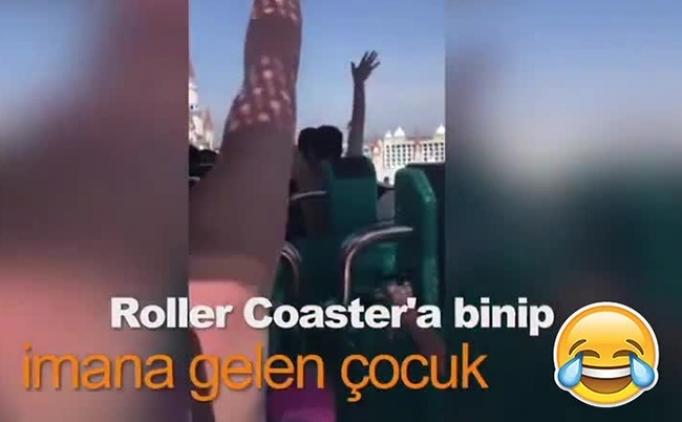 Roller Coaster'a binip korkudan imana gelen çocuk