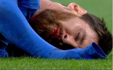 Marcelo'dan Messi'ye dirsek anı! Messi ağzı sargıyla oynadı